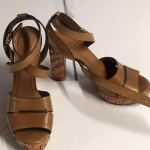 Tory Burch Shoes Leather Brown Wood Pumps Platform Heels